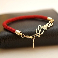 Min order $10 (mix order) free shipping  Angel LOVE heart natal red string bracelet fashion jewelry gold plated inlay
