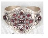 tribal jewelry tibet silver inlay garnet men's cuff bangle braceletsFashion jewelry
