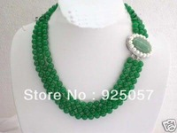 Pretty!3Rows 8MM Green Jade Necklace  Fashion jewelry