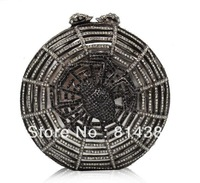Free Shipping!Dark grey spider net inspired dress evening bag crystal clutch purse S08149