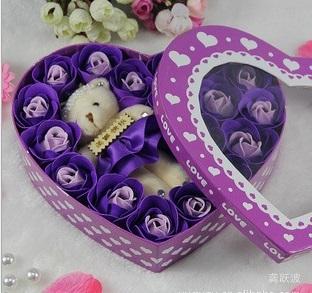 Free shipping - holiday supplies Plush Bear Heart shaped rose soap flower Birthday Gifts heart shape  Petal