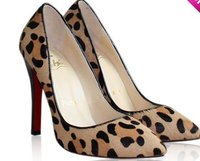 All-match fashion horse hair leopard print pointed toe red sole high-heeled genuine leather shoes wedding shoes