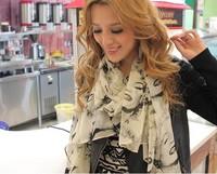 Classic long design 2012 monroe print velvet chiffon silk scarf scarf sun cape female