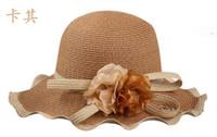 Spring and summer millinery large brim beach cap summer hat strawhat travel cap sunbonnet anti-uv scalloped big flower