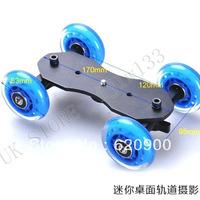 100% GUARANTEE 2 PCS Pro Table Top Dolly Mini Car Skater Track Slider For DSLR Video Film FOR CANON D1000 D650 550D 7D 60DWheel
