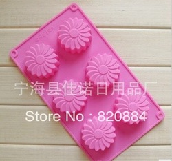 Free shipping 6 even windmills beautiful form 100% silicone cake mould handmade soap soap pudding jelly mould(China (Mainland))