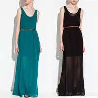 2013 New Fashion Summer Womens Floor-length Sleeveless Chiffon Dresses Girls Sexy transparent Dress for Ladies Black 4colors