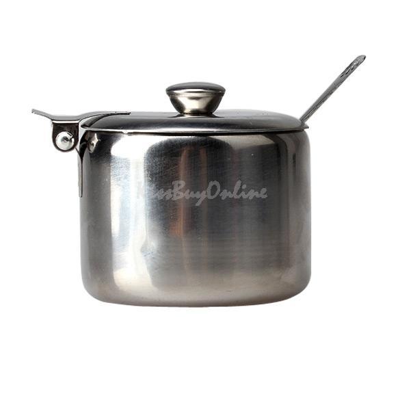 Hot Convenient Mini Stainless Steel Pot Tea Sauces Coffee Jam Lid Salt Spoon Bowl Sugar I