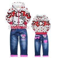 New arrivals 6sets/lot kids girls cartoon hello kitty hoodies/sweatshirt+pants 2pcs suits baby spring autumn clothing set