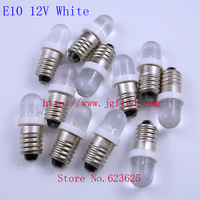 50pcs/lot Factory Outlet: E10 12V White Screw plug LED Indicator LED bulb