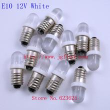 Factory Outlet:E10 12V White Screw plug LED Indicator LED bulb  50pcs/lot(China (Mainland))