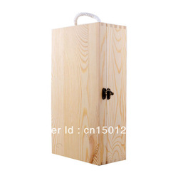 In stock sell well WINE GIFT BOX natural pine wood(China (Mainland))