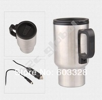 Silver Black Stainless Steel Travel Car Coffee Tea Heated Cup Mug 12V