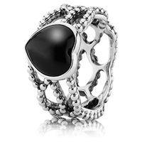 925 Sterling Silver Mi Amor Ring with Heart Shaped Black Onyx