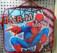 Free Shipping High Quality Nylon Cartoon Spider-Man Lunch bag (including a lunch box) Wholesale and Retail