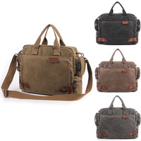 Men's Retro Document Laptop Handbag Vintage Shoulder Messenger Canvas Bag Tote S103