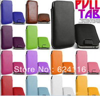 S01 2pcs/lot Hot New PU leather Pouch Sleeve Bag Pull Tab Case for Samsung Galaxy S4 SIV i9500 Phone Case