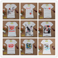 Hot sale!!! Free Shipping 2013 Fashion Cotton T Shirt Women Tops Round Neck T-shirts 67patterns free size