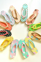 Double 5 ! polka dot summer sweet women's pinch wedges slippers sandals flip flops