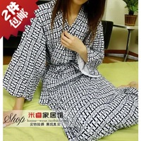 Free Shipping Spring Summer Japanese Style Kimono Cotton Bathrobe Women Printed Long Sleepwear Men Robes Nightwear