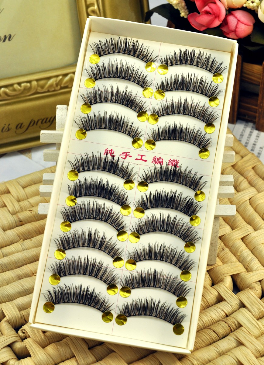Ok handmade thick lengthening curling black brown 007 false eyelashes(China (Mainland))