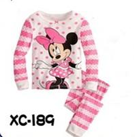 2014 new 100% cotton hello kitty pajamas minnie pyjamas kids baby clothing 2 pcs set