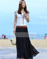 wholesale Fashion Chiffon Solid Bohemian Style Women Skirts dropshipping