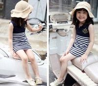 Free Shipping (5 pieces/lot) Lapel stripe sleeveless jumpsuit girls sea princess skirt dark blue