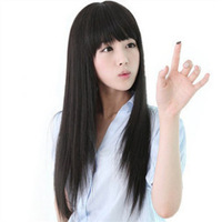 Fashion long straight hair repair girls wig bangs oblique long straight hair wig  free shipping
