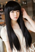 3 Color Stylish Lady 65-80cm black/light brown/dark brown long straight synthetic full lace hair wig