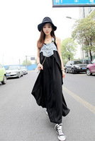 Ultra long denim suspenders chiffon skirt