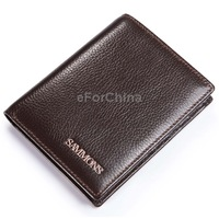 Free Shipping Men Vertical Wallet / Genuine Leather Wallet (Coffee)