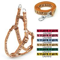 Wholesale Free shipping (6 colors)  6pcs/lot Classic Pet Dog Zebra-stripe harness Leash Lead set 1.5cm