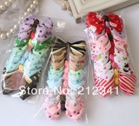 Free shipping 30pcs/lot Mixed styles grosgrain ribbon  bow bowknot accessories without hair Clips