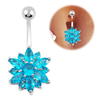 Dangle Belly ring flower belly Button ring Flower navel piercing ring bijoux charms navel piercing ring cute belly bar FR351-2