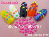 2000pcs/lot 3D strass stud fluorescent 3 mm decoration nail art tip manucure