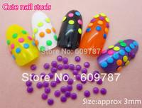 2000pcs/lot 3mm metal fluorescent studs rivets Japanese nail drill color fingernail decorations