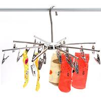 Free shipping Large folding hanger umbels chrome plated metal drying rack socks drying rack e9693