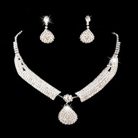 Bridal rhinestone necklace the bride accessories earrings necklace twinset