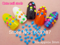 Free Shipping 2000pcs/lot 3mm Fluorescent Blue Color Round 3d metal nail studs nail decorations