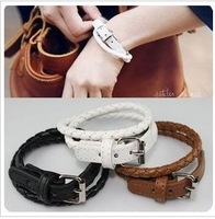 Free Shipping--(with exquisite present) Wholesale  Belt Design punk leather Bracelet,Both Gender Lover's Accessories