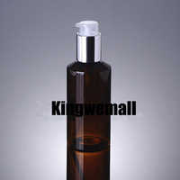 Wholesale 300pcs/lot  Capacity 150ml Empty PET Brown Bottle with Light Silver Pump For Lotion or Cosmetic Packaging XCI31