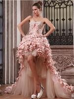 2014 Hot Sale 100% Guarantee Beautiful Hi-Lo Sweetheart Beaded Masquerade Party Prom Dress custom Size Free shipping