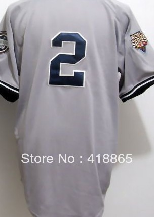Accept Mix Order Wholesale&Retail 2013 Men Cheap New York #2 Derek Jeter Grey/White/Red/Blue/Black Stripe Baseball Jersey(China (Mainland))
