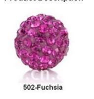 Free Shipping Shamballa beads Wholesales, Pave Clay Disco Crystal Ball Beads 10mm, #502 fuchsia, 20pcs/lot