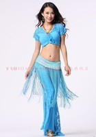 belly dance dancing lace short sleeve top+Chinese knot lace pants+tassels hip scarf costume 3pcs/set stage wear