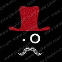 2013 Hot Selling Free DHL Shipping Mustache With Hat Rhinestone Motif Iron On Transfers Hotfix Motif  For Garment Accessory