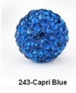 Free Shipping Shamballa beads Wholesales, Pave Clay Disco Crystal Ball Beads 10mm, #243 Capri Blue, 20pcs/lot