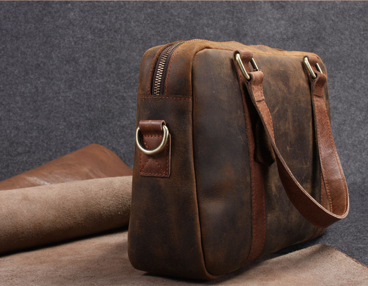 Handmade Leather Bag Messenger Shoulder Laptop Briefcase 51