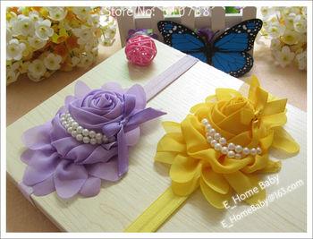 16pcs Baby Girl Chiffon Ruffles Rose Flower + Hair Ribbon Bowknot + Baby Hair Headband Girl's Hair Accessories